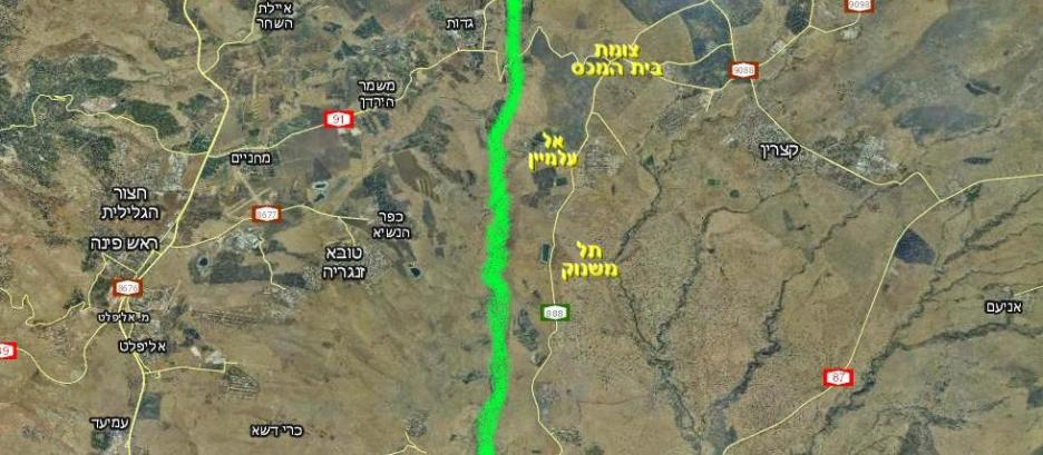 הגזרה המרכזית / דרומית של גבול ישראל-סוריה עד מלחמת ששת הימים [המפה מתוך וואלה]