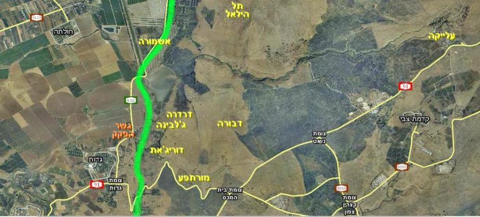 הגזרה המרכזית של איזור גבול סוריה עד מלחמת ששת הימים. ירוק: קו הגבול [מתוך וואלה]