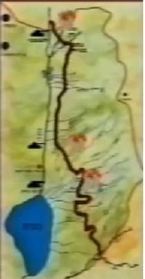 """תוואי ההטיה הסורי. הסימנים האדומים"""" המקומות בהם פגע צה""""ל בכלים ההנדסיים"""