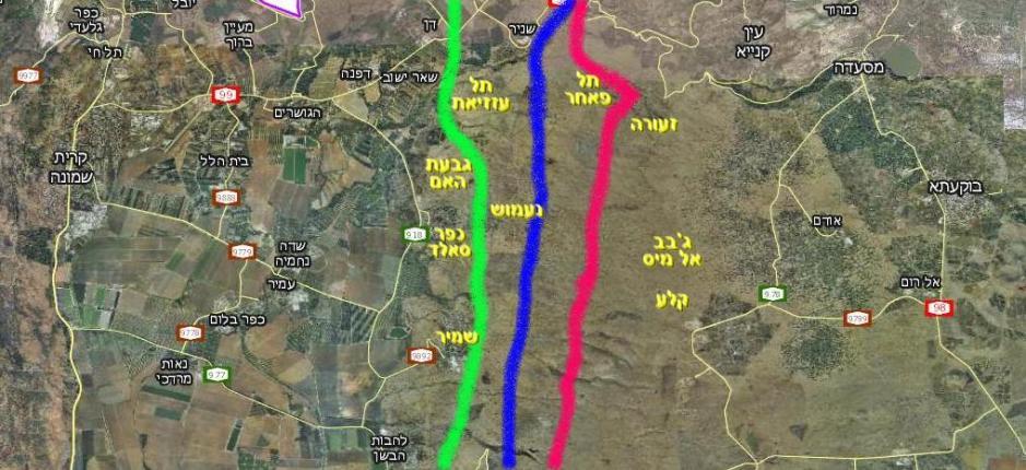 מפה איזורית של איזור ההבקעה העיקרי במלחמת ששת הימים. הקו הירוק: הגבול בין ישראל לסוריה. כחול: דרך הפטרולים הסורית. אדום: ציר הנפט