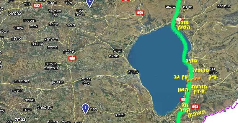 גבול ישראל-סוןריה עד מלחמת ששת הימים [קו ירוק] בגזרת הכינרת [מפה מוואלה]