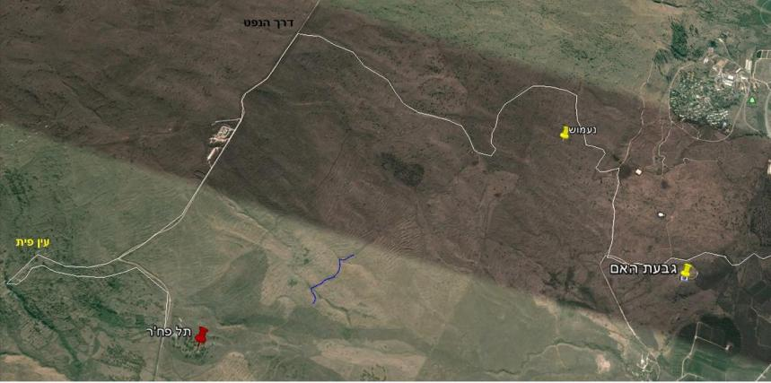 מסלול הסיירת מגבעת האם, דרך כביש הנפט ועד תל פאח'ר. מבט מצפון כלפי דרום. לחצו להגדלה