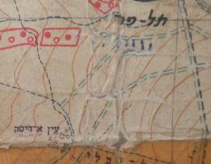 המפה שחולקה לכוחות. אפשר לראות את סימוני הבתים של הכפר עין א-דייסה