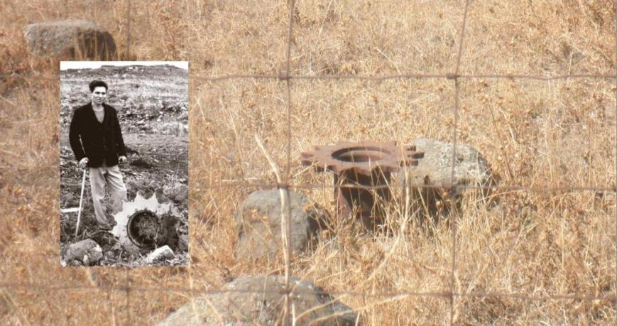 הגלגל המניע של טנק ברוש - אז והיום. ברוש ליד הגלגל ב-1967, וכך הוא נראה היום בשטח (להגדלה - לחצו)