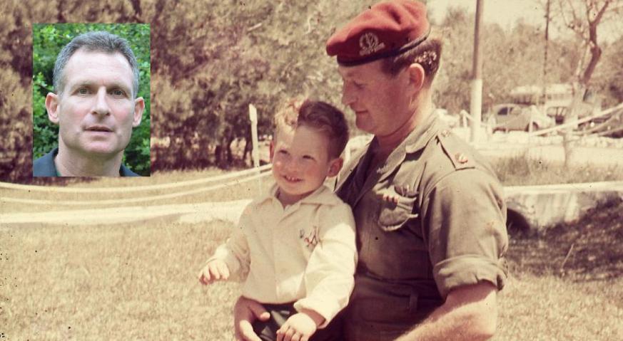 דודי קליין בן השנתיים וחצי עם אביו מוסא ב-1966, וכיום (בצילום הקטן). להגדלה - לחצו על הצילום