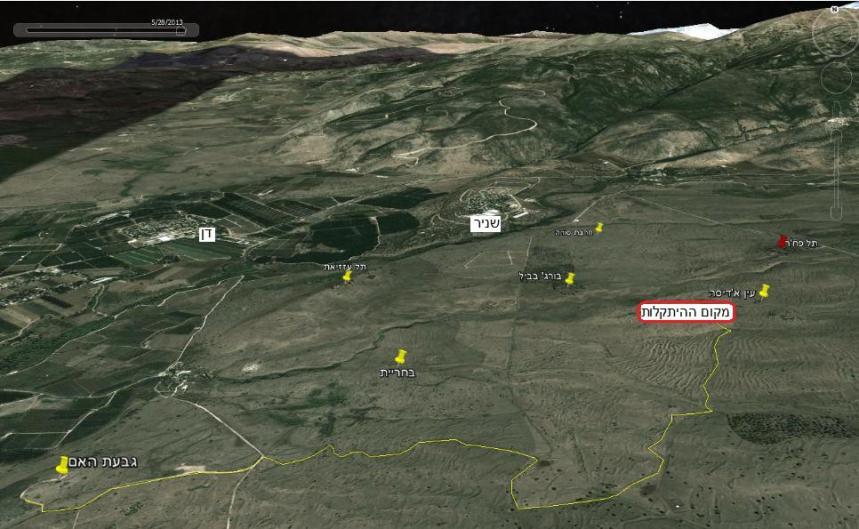 """מפת הקרב של זחל""""ם המסייעת. בצהוב – הדרך שעשה מגבעת האם עד כ-900 מטר מתל פאחר שם נפגע (להגדלה – לחצו)"""