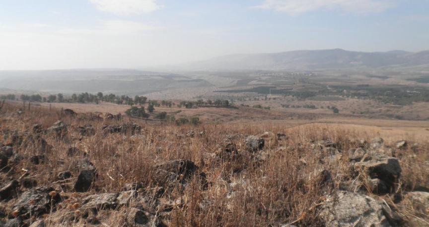 הנוף לכיוון מערב. קבוצת העצים מימין - קיבוץ גדות. הישוב באופק - משמר הירדן. לחצו להגדלה
