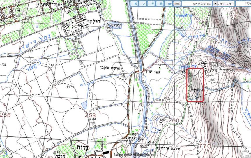 """הכפר ג'לבינה (במסגרת האדומה), פעם ישוב ספר (מפה מתוך """"עמוד ענן"""")"""