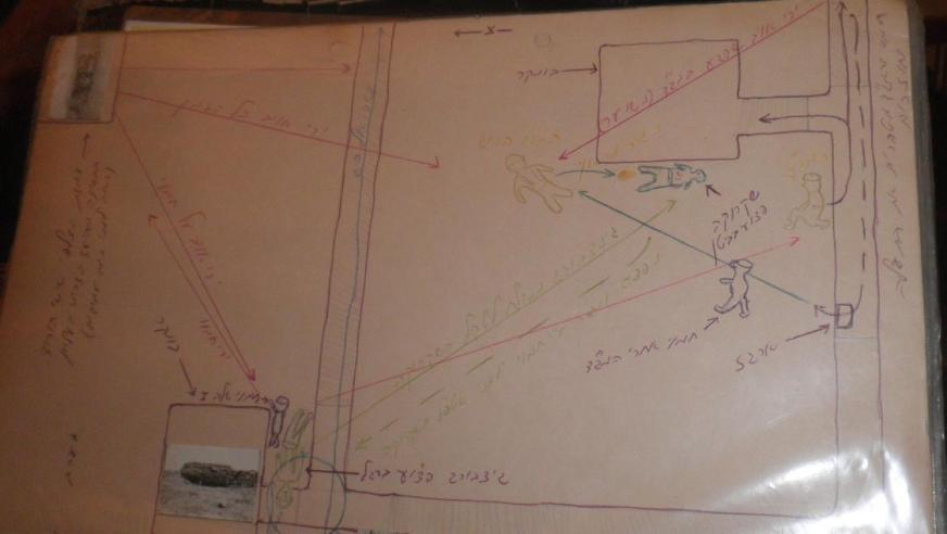 """מסלול המוות - מתוך האלבום של זמיר כהן. שרטוט הקרב על התל הצפוני של """"כוח קרינסקי"""" (לחצו להגדלה)"""