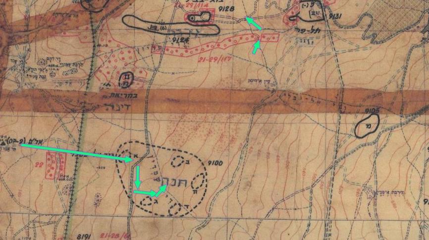 דרך ההטיה שלא סומנה במפת מוצבים 67. החיצים בירוק: תנועת גדוד 12 מגבעת האם לתל פאחר