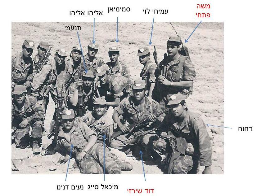 חיילי פלוגה א' בגדוד 12 במסע לאילת - חורף 1966-67. מי מזהה את היתר?