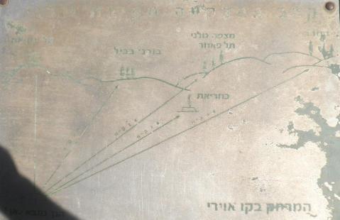 """שלט בגבעת האם: המרחק האווירי לתל פאחר - 2 ק""""מ (לחצו להגדלה)"""