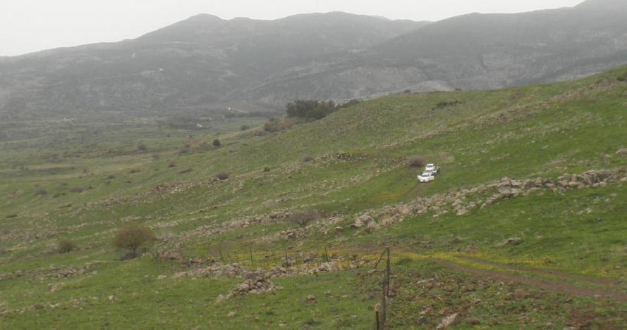 שלוש מכוניות שירכו דרכן מעל תל פאחר ומתחת לכביש הנפט, כשגחונן מתחבט ללא הרף באבנים ומהמורות (להגדלה - לחצו)