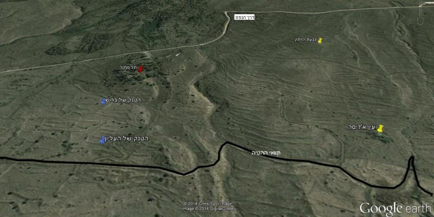 המקום המשוער בו נפגע הטנק של העליון. מבט ממערב למזרח (לחצו להגדלה)