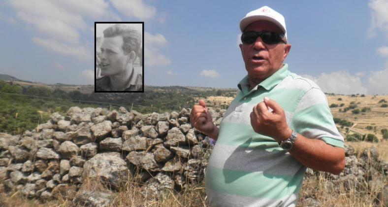 מוראד מדגים כיצד משך איתו את דב רוזנבלום (בצילום הקטן).