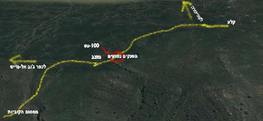 הדרך של ארבעת הטנקים ממחסום הקוביות ועד לרגע שבו נפגעו בזה אחר זה על-ידי ה-SU-100 (מבט ממערב לכיוון מזרח)