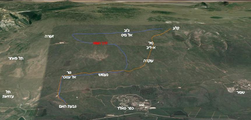 """מפת הקרב של חטיבה 8 (מבט ממערב למזרח). בכתום: גדוד 129, בכחול: גדוד 377 עם חפ""""ק המח""""ט אלברט מנדלר"""