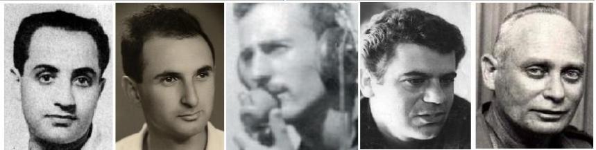 חמישה מגיבורי חטיבה 8 ברמה הסורית. מימין: אלברט מנדלר, נתי הורביץ (גולן), שאול ורדי, רפי מוקדי ומשה חביב