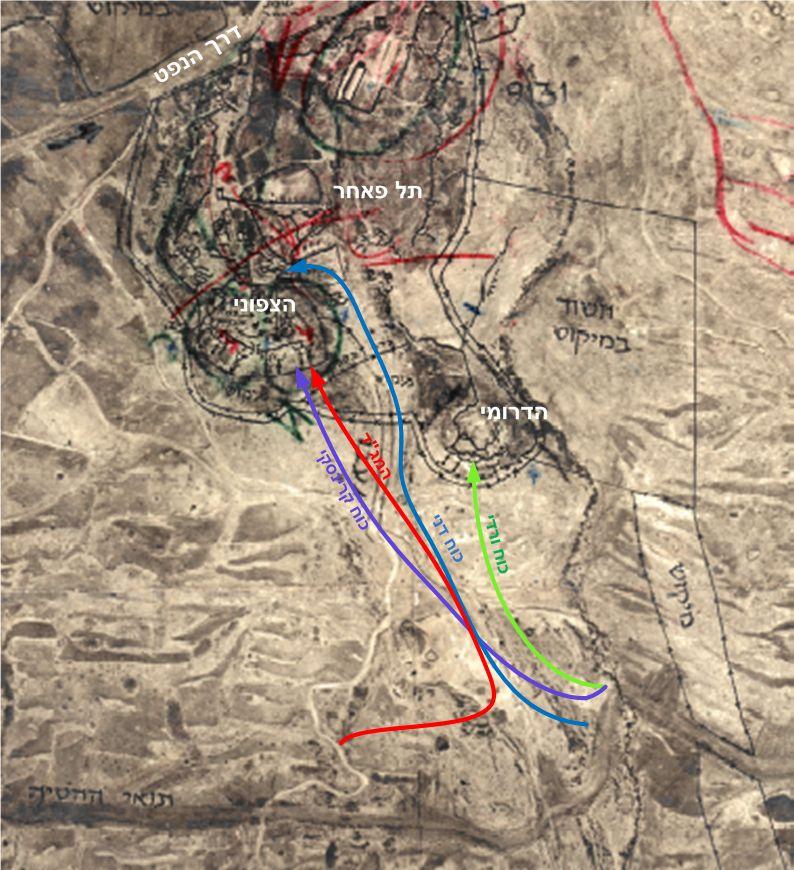 מפת כוחות גולני שתקפו את תל פאחר ממערב (לחצו להגדלה)