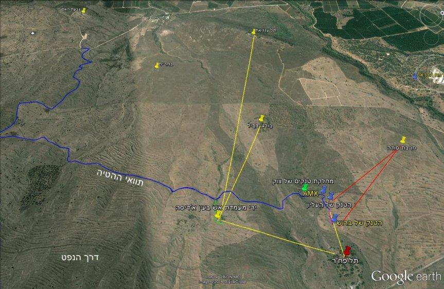 מסלול הטנק (בכחול) מגבעת האם ועד לגדרות המערביים של המוצב הסורי