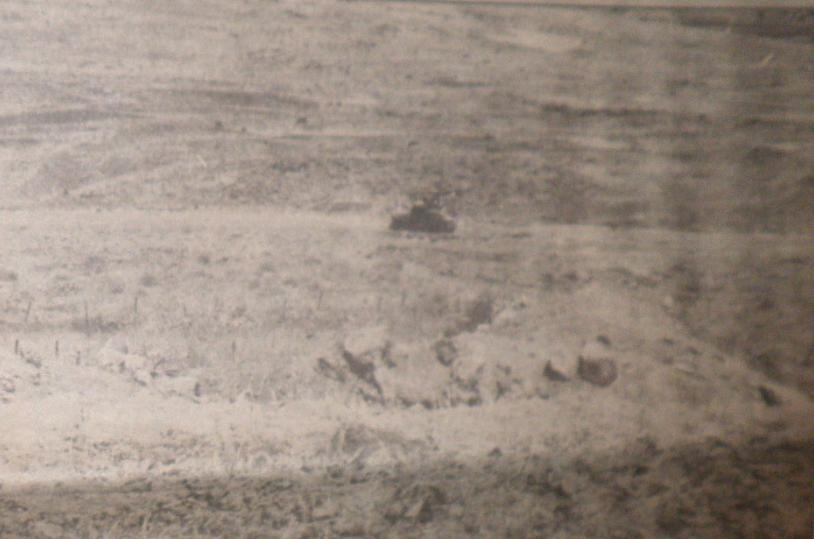 נשכב על הגדרות. הטנק הפצוע של מחלקת החוד בצילום מתל פאחר