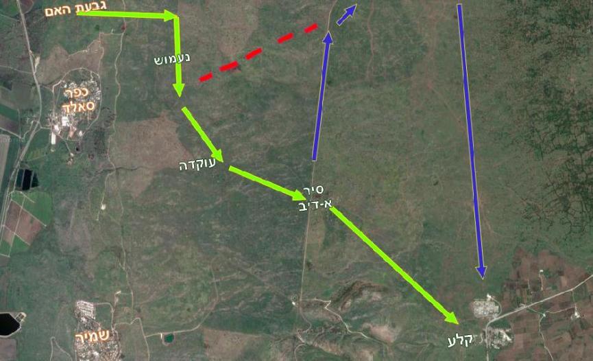 מפת הקרב של חטיבה 8. ירוק: החטיבה נעה מגבעת האם, מפספסת את השביל העולה לזעורה [באדום], מגיעה לסיר א-דיב ונוכחת בטעות. גדוד 129 ממשיך מזרחה אל קלע ויתר חטיבה 8 פונה דרומה אל זעורה ולאחר מספר שעות מגיעה מצפון ומתחברת מחדש בקלע לגדוד 129