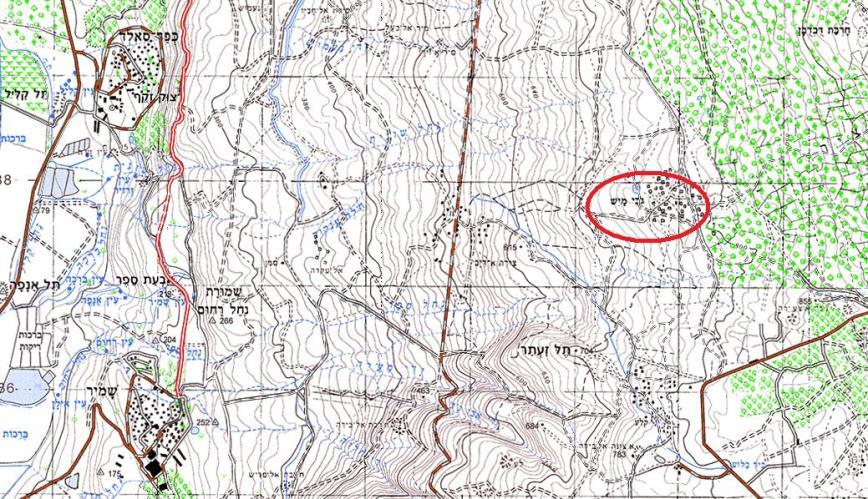 """מפה אזורית של ג'ובה אל מיס (""""עמוד ענן"""")"""