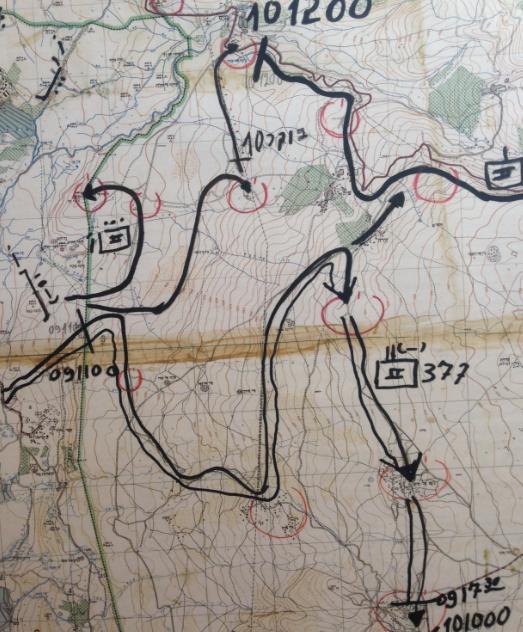 """תנועת גדוד 377 ביום ה-9 ביוני 1967 כפי ששירטט המג""""ד חינסקי"""