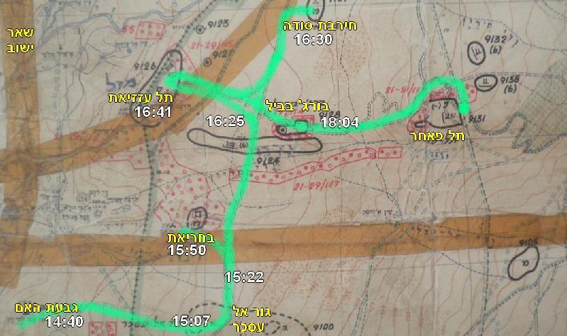 נתיב התנועה של גדוד 51 מגבעת האם - גור אל עסכר, בחריאת, תל עזזיאת, חירבת סודה ועד הגעתו בערב לתל פאחר