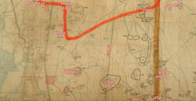 התכנון שיועד לחטיבה 8 להבקעת צפון הרמה הסורית. מגבעת האם לנעמוש, מנעמוש לזעורה, מזעורה למסעאדה