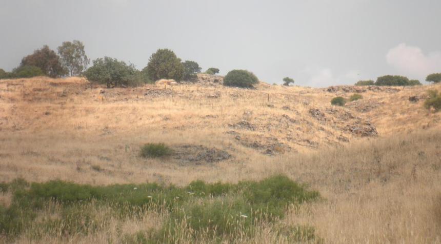 מבט מדרך ההטיה אל היעד הדרומי של תל פאחר. מכאן עלה כוח ורדי