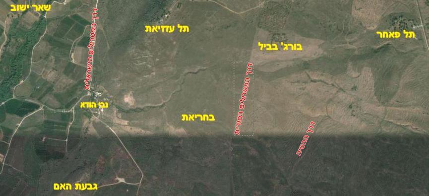 מפת האיזור בצילום לוויין (גוגל)