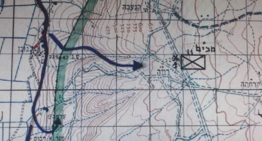 מסלול גדוד 17 ביום ה-9 ביוני 1967. מגונן לראוויה דרך מוצב 8100, וכוח אחר לעורפיה
