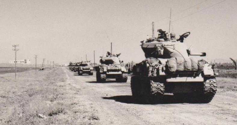 "גדוד 377 (מג""ד אמנון חינסקי, סמג""ד בנצי פדן) בדרך לקונייטרה"