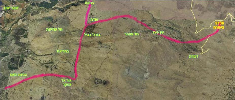 מפת המסע הרגלי של גדוד 13 ב-9 ביוני 1967. החל בגבעת האם, עבר דרך חירבת סודה, התפצל צפונה לבניאס, ומזרחה לכיוון 9136 תוך עקיפת תל פאחר מצפון