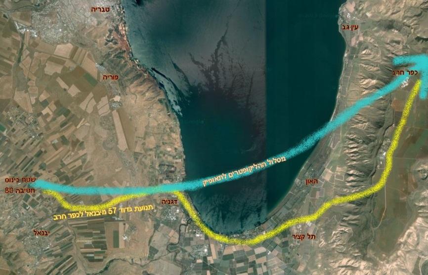 """המסלול של גדוד 57 בזחל""""מים ובטנקים מיבנאל לכפר חרב, ותנועת ההליקופטרים של יתר החטיבה לתאופיק"""