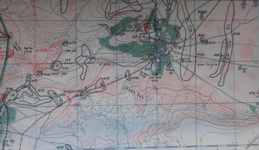 מוצבי תאופיק ואיזור צוואר הבקבוק, מפת מודיעין פיקוד צפון 1967