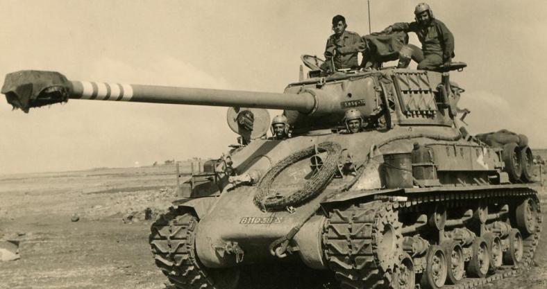 """טנק מ""""מ 1 ברמת הגולן לאחר המלחמה יוני 1967"""