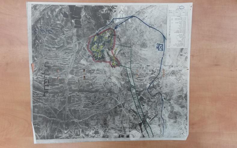 """תצ""""א של תל פאחר שהיה מצורף לפקודת תכנון מקבת בחטיבה 1."""