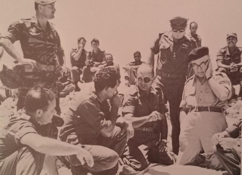 כובשים את הרמה הסורית. דדו, דיין, רבין ואשכול בעיצומו של יום הקרבות הראשון ב-9 ביוני 1967