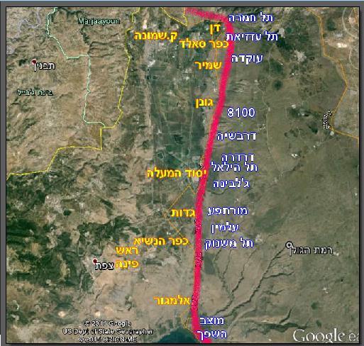 """מפה כללית של גזרת חטמ""""ר 3 מול המוצבים הסורים העיקריים"""