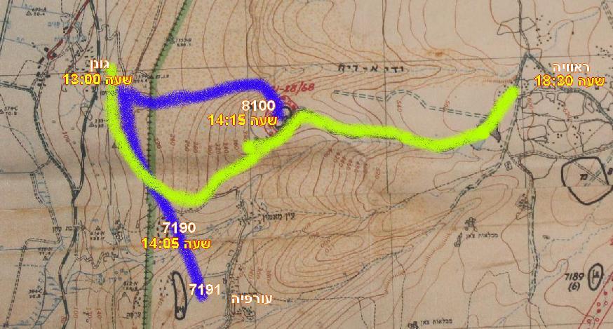 כיבוש 8100, עורפיה וראוויה והזמנים. כחול: גדוד 17 של גולני, צהוב: טנקי גדוד 266 מחטיבה 37 ופלוגת הסיור החטיבתית 134