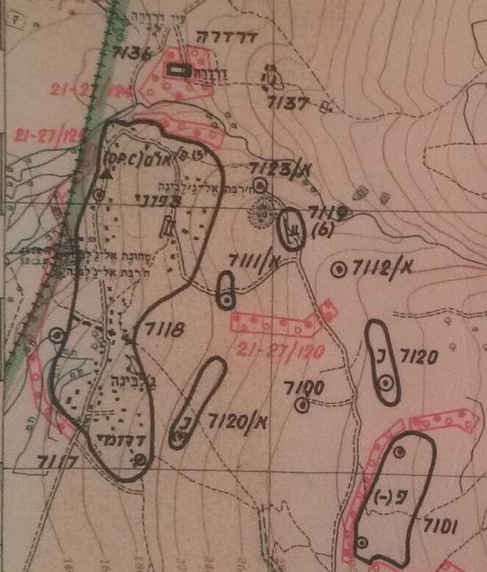 מפת איזור ג'לבינה והמוצבים באיזור