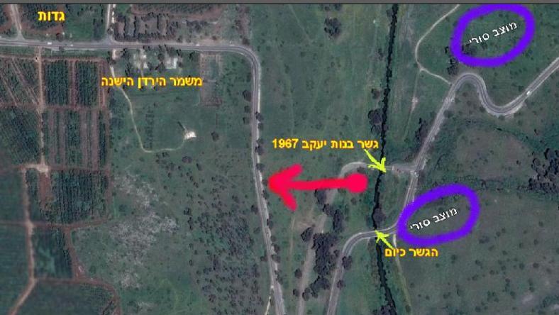 באדום: המקום בו צנח אסף בן-נון והדרך שעשה ברגל לעבר הכביש עד לחילוצו