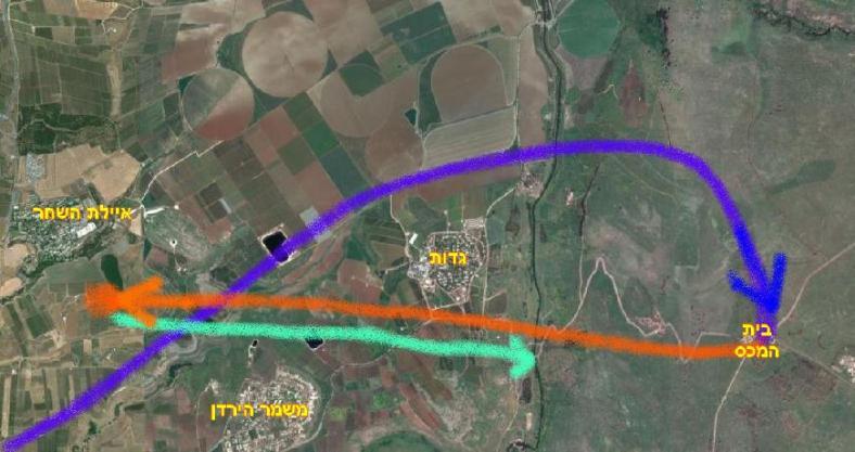 מפת הקרב של אסף בן-נון ב-7 ביוני 1967