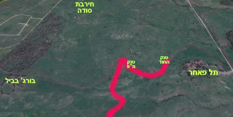"""מפת תנועת פלוגה ז': המקום בו נפגעו טנק החוד וטנק המ""""פ נמיר"""