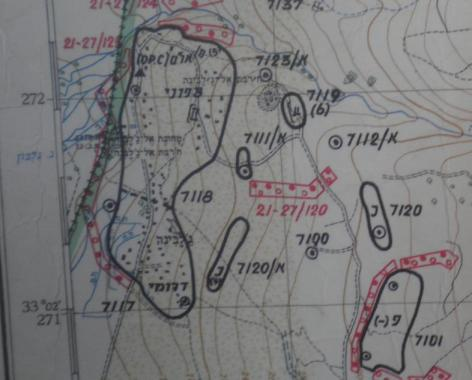 מפת איזור ג'לבינה מ-1967. באחת הדרכים דרומית מזרחית לכפר קרה המקרה שמתאר הון