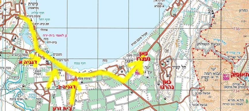 """תנועת גדוד 908 מאיזור כינרת ודגניה ועד כקילומטר לפני צומת הפנייה לתל קציר. מדרום לקיבוץ: המקום המשוער בו נהרגו המג""""ד וקצין הקשר"""