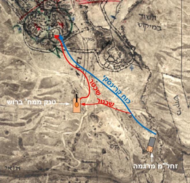 המסלול של ביבר ושכטר במסגרת כוח קרינסקי [שרטט: דני ביזר]