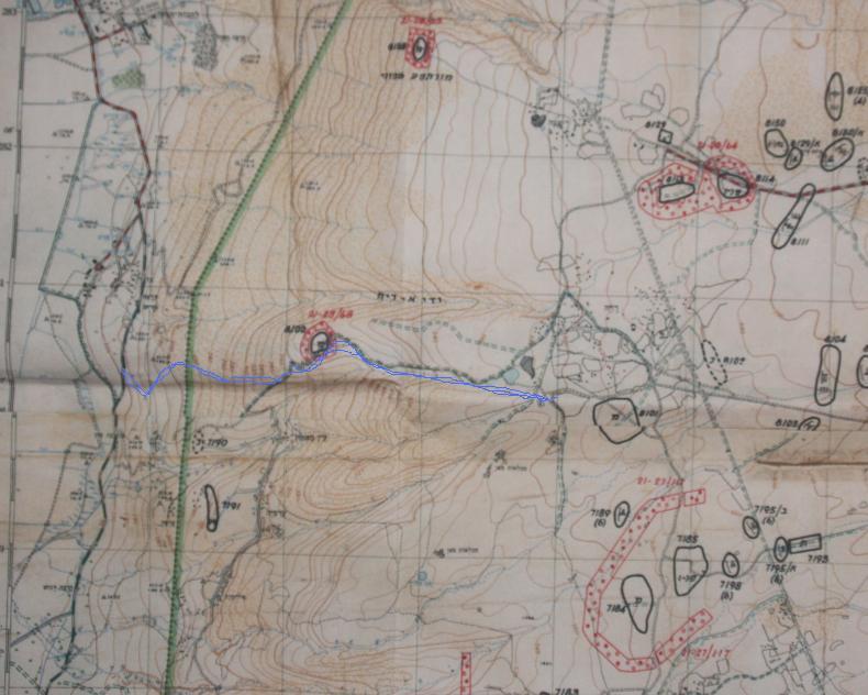 מפת 1,20,000 של האיזור. תנועת פלוגת הסיור 134 מסומנת בקו כחול